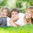 Kids in spring park — Stock Photo