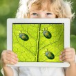 Child holding tablet PC - Foto Stock