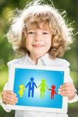 Dziecko trzymając tablet pc — Zdjęcie stockowe