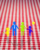 3d family on gingham tablecloth — Stock Photo