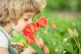 Child smelling tulip — Stock Photo