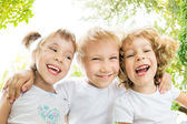 Low angle view portrait of happy children — Stock Photo
