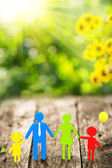 3d family on wooden table — Stock Photo