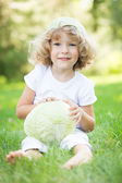 Child with cabbage — Stock Photo