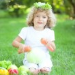 Happy child playing with fruits and vegetables in spring park. healthy eating concept — Stock Video #21381671