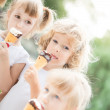 Children eating ice-cream — Stock Photo