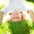 Active kid playing outdoors — Stock Photo