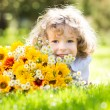 Foto de Stock  : Girl with bouquet of flowers