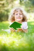 Child holding eco house — Stock Photo