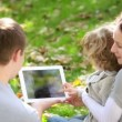 A family of three watching pictures on tab in a park — Stock Video