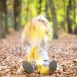 Happy child playing outdoors in autumn park — Stock Video #29637299