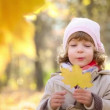 Happy child playing outdoors in autumn park — Stock Video #29637845