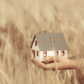 House in childrens hands — Stock Photo