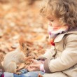 Child feeds a little squirrel — Stockfoto
