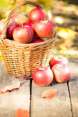 Basket with red apples on wooden table — Stockfoto