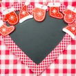 Stock Photo: Card blank in heart shape with Christmas tree decorations