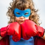 garoto super-herói. conceito de poder de menina — Foto Stock