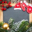 Vintage blackboard blank framed in Christmas tree branch and dec — Stock Photo