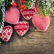 Christmas tree decorations hanging on branch — Stock Photo