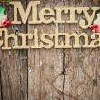 Gold text Merry Christmas on wood — Stock Photo