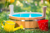 Wooden vat outdoors — Stock Photo