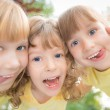 Low angle view portrait of happy children — Stock Photo #39858805