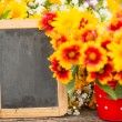 Stock Photo: Wooden frame and flowers