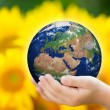 Stock Photo: Child holding Earth in hands