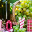 White wine bottle and grapes — Stock Photo