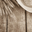 Wheat on wood — Stock Photo #42970913