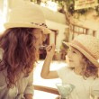 Hipster woman and girl in summer cafe — Stock Photo #43932931