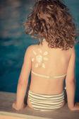 солнцезащитный лосьон для рисования солнце — Стоковое фото