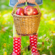 Kid holding basket with apples — Stock Photo