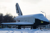 Blizzard. Soviet space shuttle Blizzard in Moscow Gorky Park in wintertime — Stock Photo