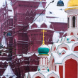 Winter Tale. Museum of Russian history and Cathedral at the Red Square of Moscow — Stock Photo #23127468