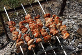 Kebabs on skewers. — Stock Photo