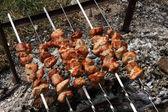 Kebabs on skewers. — Stock Photo