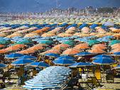 Umbrellas at the beach at Viareggio — Stock Photo