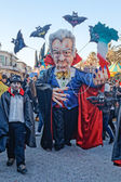 VIAREGGIO, ITALY - FEBRUARY 19: allegorical mask about Italian prime minister Mario Monti at Viareggio Carnival held February 19, 2012 — Stock Photo
