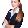 Portrait of young smiling businesswoman isolated on white backgr — Stock Photo