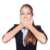 Portrait of young woman covering mouth with her hands isolated w — Stock Photo