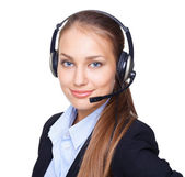 Closeup portrait of young female call centre employee with a hea — Stock Photo