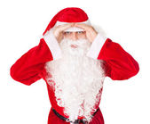 Portrait of Santa Claus look far away hold hands at head isolate — Stock Photo