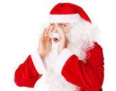 Santa claus högt skrikande ropar till någon isolerad på wh — Stockfoto