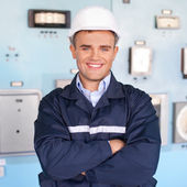 Young engineer at control room — Foto Stock