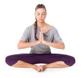 Young woman doing yoga asana Bound Angle Pose — Stock Photo