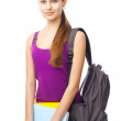 Young smiling student girl with folders and backpack — Stock Photo #30754453