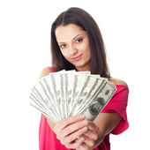 Young woman holding a dollar bills — Stock Photo