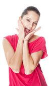 Surprised woman portrait — Stock Photo