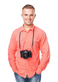 Young man with a camera — Stock Photo